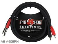 "6ft Pig-Hog Dual 1/4"" (6.3mm) TS Mono Male Plug to 2-RCA Male Plug  Audio Cable"