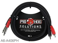 "6ft Pig-Hog Dual 1/4"" TS Mono Male Plug to 2-RCA Male Plug  Audio Cable"