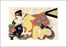 Keisa Eisen, Coppia a Letto, 1825, Rosso-e EROTICO SHUNGA giapponese, POSTER a4