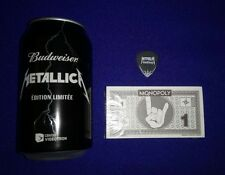 NEW RARE! METALLICA Collector Swag Pack Budweiser Can Monopoly Money Guitar Pick