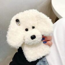 Autumn Winter Cute Teddy Dog Warm Fluffy Plush Case For iPhone 12 Pro MaX 11 X