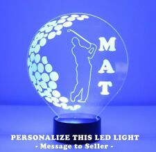 Golfer LED Night Lamp Personalized FREE Night Light Table Lamp 16 Color Remote