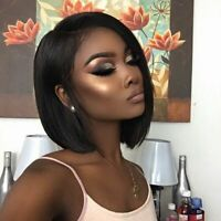 Glueless Lace Front Wig Silky Straight 100% 8A Bob Brazilian Human Hair Wigs US