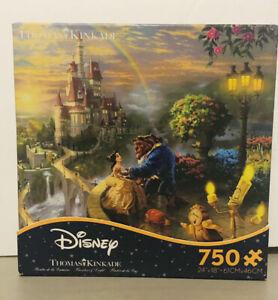 "Disney ""Thomas Kinkade"",  Beauty And The Beast  750 Piece Puzzle Complete EUC"