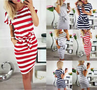 Womens Short Sleeve Bodycon Midi Dress Ladies Summer Casual Pocket Striped Dress