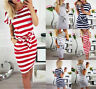 Womens Short Sleeve Bodycon Midi Dress  Summer Casual Pocket Striped Dress US
