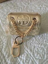 Tory Burch Lil Fleming Napa Leather Mini Key FOB Metallic Chain Purse Charm NWT