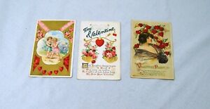 3 Vintage Valentine Day Postcards 1911 1913 1914