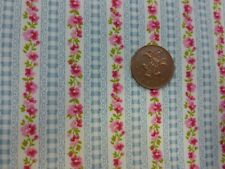 one metre cotton poplin with narrow stripes of blue gingham and pink flowers