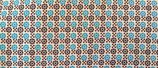 Vintage Cotton Fabric Quilt Brown Blue Graphic Single Piece MCM 1950 Dots NOS D