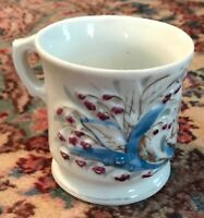 """Antique China Floral """"Present"""" Shaving Mug or Cup - Turn of the Century!"""