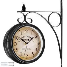 Double Face Horloge Murale Gare Montre Vintage Retro Style New York Acier Noir