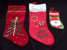 3 CHRISTMAS STOCKINGS MAMA GRANDMA GLITTER SPARKLE 1 SMALL WITH BUTTONS SANTA CU