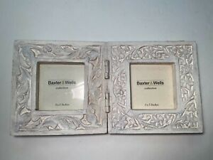 """Baxter & Wells Double Hinged Frame Engraved, Distressed White 3""""x 3"""" Unique,Rare"""