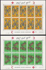 1967 MAROC N°523A/524A** Blocs feuillets 5 Paires TETE BECHE Bijoux, MOROCCO NH