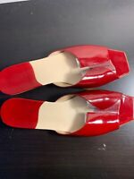 Kate Spade New York Women's Size 8.5 Slides Red Patent Leather Shoes Italy GUC