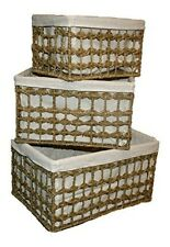 Danielson's Woven Seagrass Storage Baskets with Cloth Liner (Set of 3)