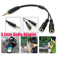 3.5mm Mic Headset Splitter Adapter 1 TRRS Male to 2 TRS Female Y Audio Wire Cord