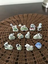 101 DALMATIANS Set 16 Mini Figurines French Porcelain FEVES MATTE Figures Disney