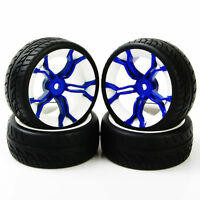 RC 4Pcs Run Flat Tires&Blue Wheel 12mm Hex For HSP 1:10 On Road Model Racing Car