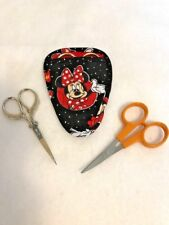 Handmade MINNIE MOUSE I on black Quilted embroidery needlework scissor holder