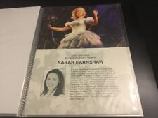Wicked The Musical London Sarah Earnshaw A4 Standby/Played By Sheet/Card