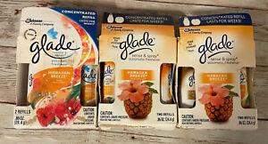 6 Glade Sense & Spray  Automatic Air Freshener Refills Hawaiin Breeze/Cashmere W