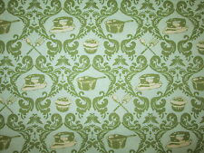 RETRO 50's HOUSEHOLD ITEMS LEFLUER CUPCAKES PANS IRON GREEN COTTON FABRIC FQ OOP