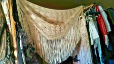 Civil War, Old West, Edwardian,Reenactor Vintage,Antique Silk Ribbon Piano Shawl
