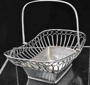 Antique Old Sheffield Plate OSP Silverplate Wirework Rectangular Basket 1790