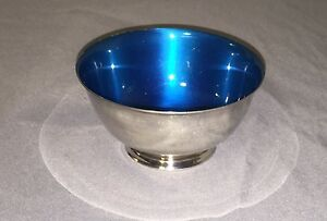 "Vtg Paul Revere Reproduction Bowl Wm Rogers Silver Plated Footed Shiny 4""Tx2"" D"