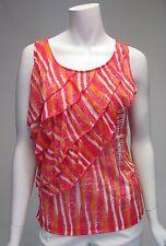 Rafaella Bright Orange & Pink Ruffle Sleeveless Sz M Top Blouse NWT $53