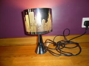Modern Silver New York Night Skyline Bedside Lamp