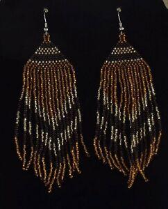 Golden Evening Beaded Fringe, Dangle/Drop Earrings.