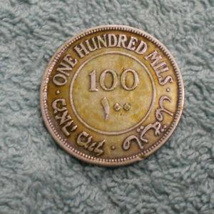 #C4.  1927  100 MILS PALESTINE SILVER COIN