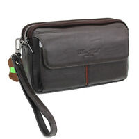100% Real Leather Men Clutch Bag Wrist Handbag Cell Phone Cigarette Purse Wallet