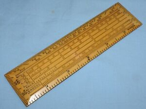 ANTIQUE BOX WOOD SECTOR RULE RULER - INCH CHORDS - VERY NICE