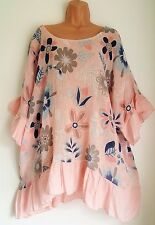 New Lagenlook Linen L Pink Floral frill sleeve linen tunic top 20 22 24 26 28