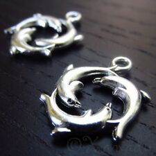 Dolphin Charms 21mm Antiqued Silver Plated Pendants C4112 - 10, 20 Or 50PCs