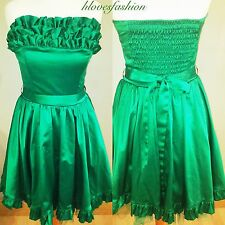 👑BAY Green Satin Boned Ruffle Skater Petticoat Prom Cocktail Dress UK 8 EU 36👑