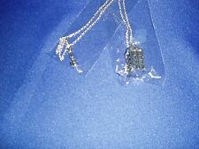"""Tardis Doctor Who Police Box & Sonic Screwdriver Necklaces 22"""" Silver New"""
