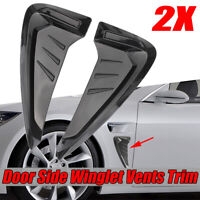 PAIR Black Universal Car Line Side Flow Fender Grill Intake Air Wing Vent Trim