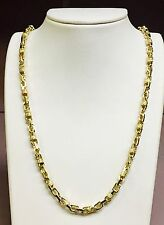 """18k Solid Yellow Gold Handmade Link Men's Chain/Necklace 26"""" 95 grams 6 MM"""