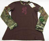 Womens NWT Browning Buckmark Layered Long Sleeve Camo Brown T-Shirt Size S