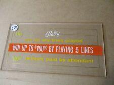 Slot machine plastic Topper (Bally) $.10 5 Line