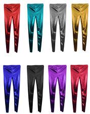 LADIES WOMEN'S GIRLS Disco  Metallic  Shiny Pants Dance  Leggings Footless 8-26