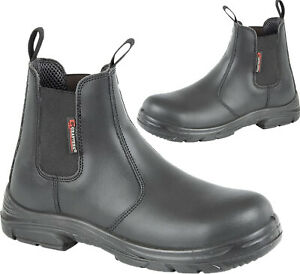 MENS GRAFTERS WIDE EEEE FIT DEALER STEEL TOE CAP CHELSEA SAFETY BOOTS WORK SHOES