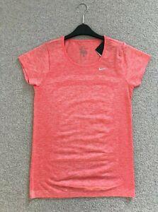 Nike RUNNING TOP size S 8 10 DRIFIT knit BNWT Coral orange SHORT SLEEVE