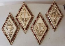 Set of 4 Homco Wallhangings Diamond Shaped L#1499