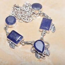 "Handmade Blue Sapphire Gemstone 925 Sterling Silver Necklace 21"" #N00680"